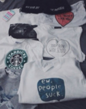 shirt,beanie,startbucks,ew people suck,i dont like you,kids done with school,quote on it