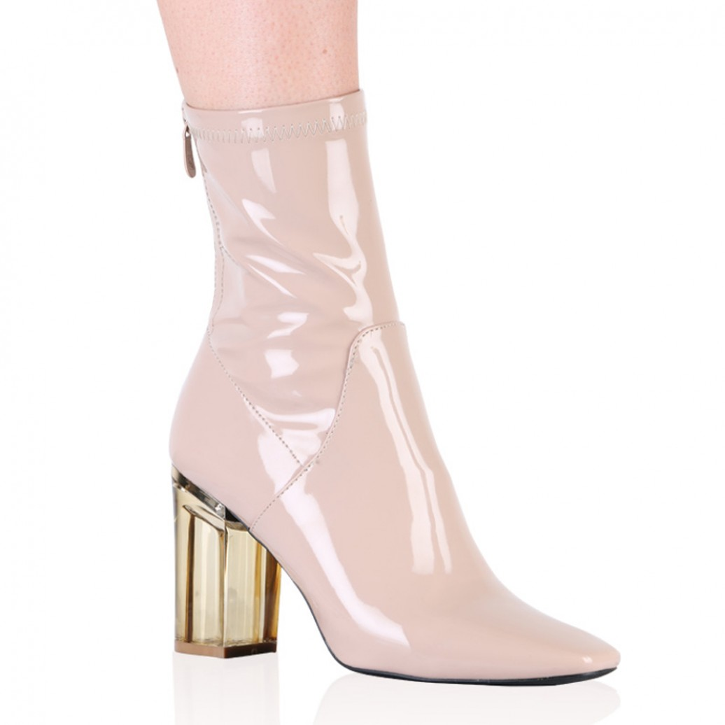 Perspex Heeled Ankle Boots in Nude