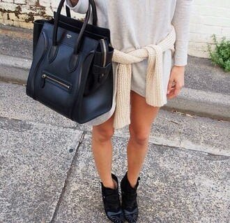 bag black black bag handbag leather dress t-shirt shirt grey long sleeves boots shoes sweater neutral girl outfit long sleeve dress