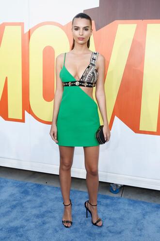 dress party dress mtv movie awards emily ratajkowski sandals mini dress asymmetrical shoes