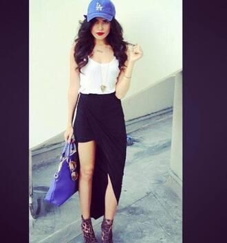 skirt black skirt maxi skirt asymmetrical high-low