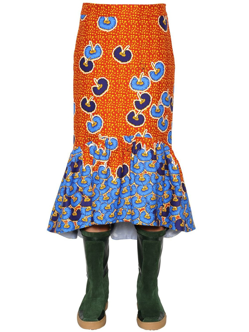 STELLA JEAN Ruffled Printed Cotton Twill Midi Skirt in blue / orange