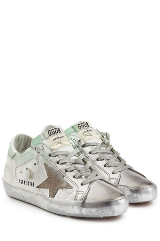 suede sneakers sneakers leather suede silver shoes