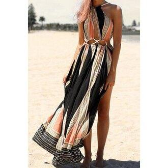 dress maxi dress slit dress black cool beach summer hot rose wholesale-ma