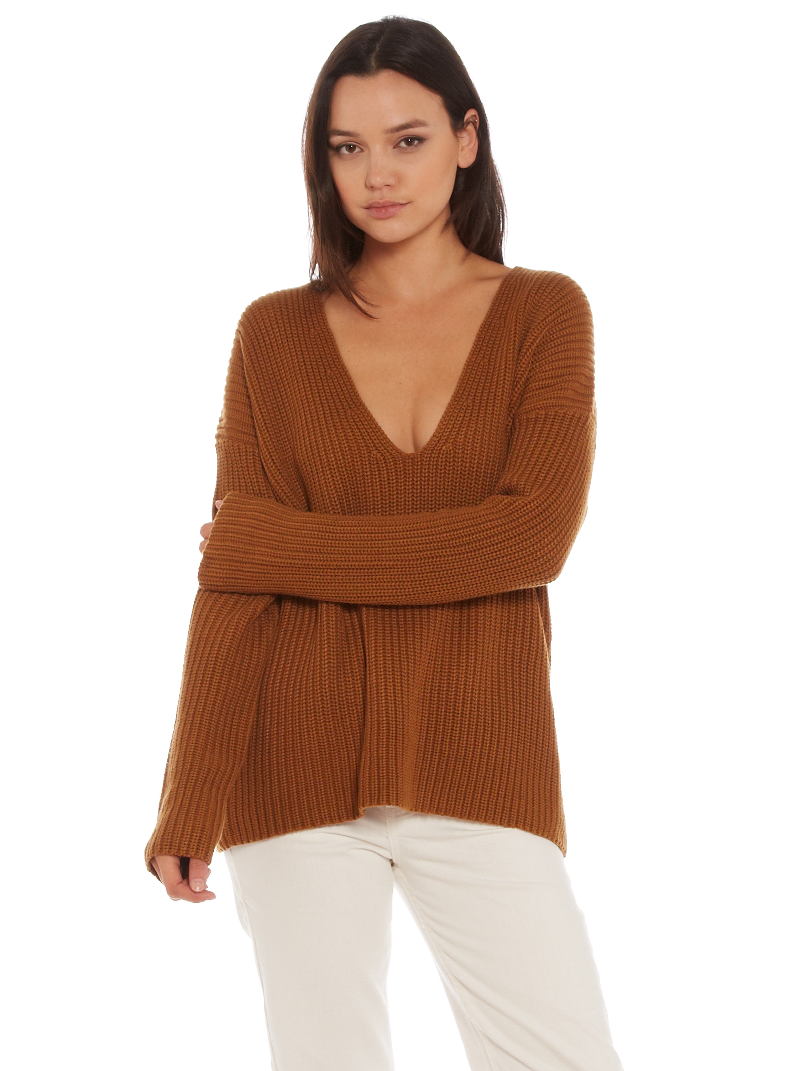 interval Oversized Structural Rib Sweater in Brown