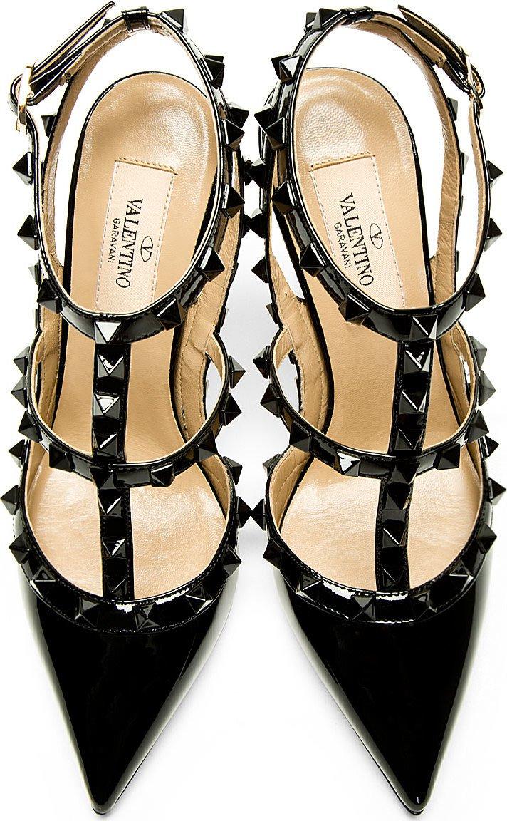 Valentino - All-Black Patent Rockstud Slingback Heels