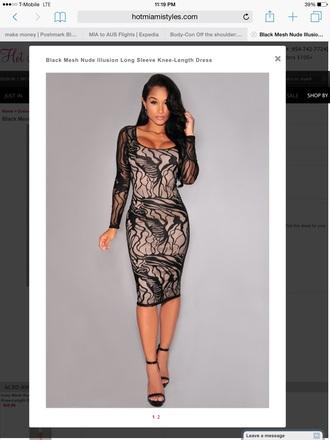 dress nude illusion dress black lace dress midi dress long sleeve dress