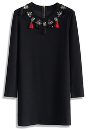 dress,gems and tassel embellished dress in black,chicwish,black