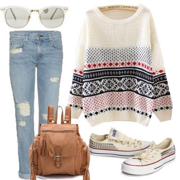 sweater white winter sweater converse bag bag leather bag leather jeans pants sunglasses