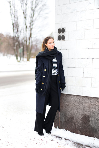coat tumblr military style black coat winter outfits winter look top stripes striped top pants black pants wide-leg pants scarf black scarf