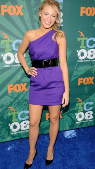 dress blake lively purple dress one shoulder