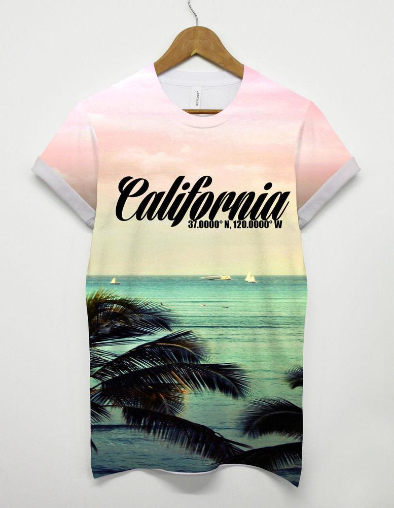 California all over printed t shirt summer beach holiday festival mens womens