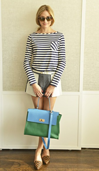 sweater stripes shoes shorts olivia palermo preppy