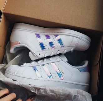 shoes adidas white superstar metallic tumblr sneakers