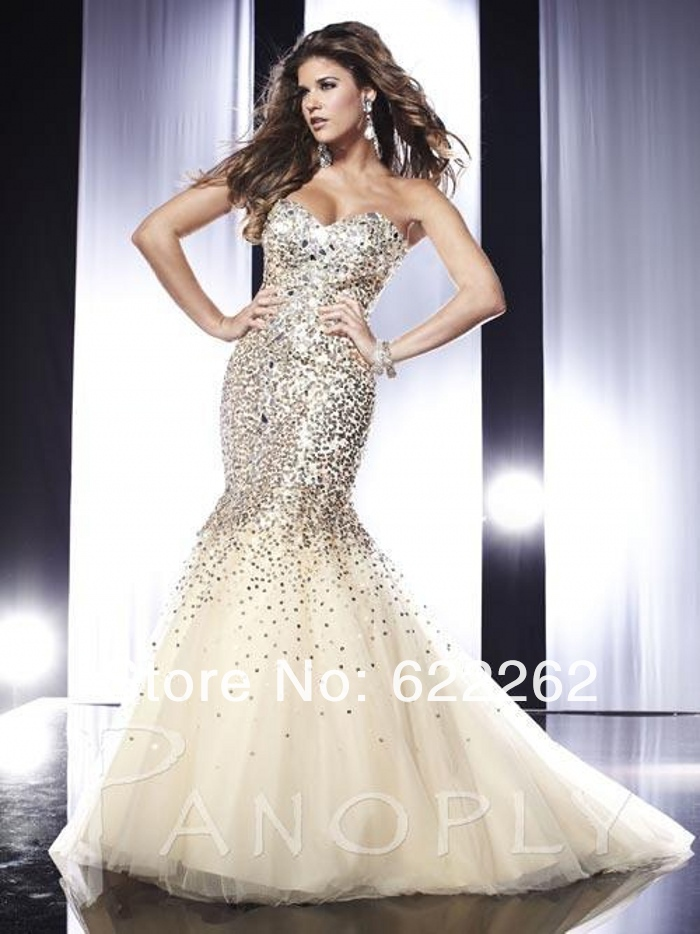 Luxury Noble Mermaid Sweetheart Floor Length Ivory Organza Beads Sequins Rhinestone Low Back Evening Prom Dresses-in Prom Dresses from Apparel & Accessories on Aliexpress.com