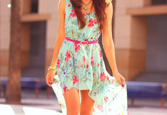 dress pink blue high-low dresses flowers high-low belt summer necklace turquise ocean pink belt flower floral floral cute girly green pastel bright colors floral dress summer dress assymetric green dress pink flowers