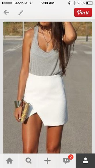 skirt white skirt summer outfits slit skirt