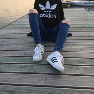 top black adidas adidas superstars jeans white black and white