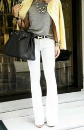 pants,office outfits,yellow,black,white,grey,white dress,grey t-shirt,jewels,jewelry,grey pants,black and white,shoes,heels,high heels,black heels,cute,chic,hot,sexy