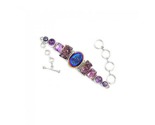 Awesome 925 sterling silver Titanum Druzy Amethyst And Pearl Gemstone Cluster Bracelet