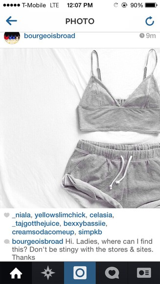 sweatpants grey crop tops shorts top