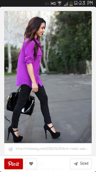 blouse purple high heels business professional cute