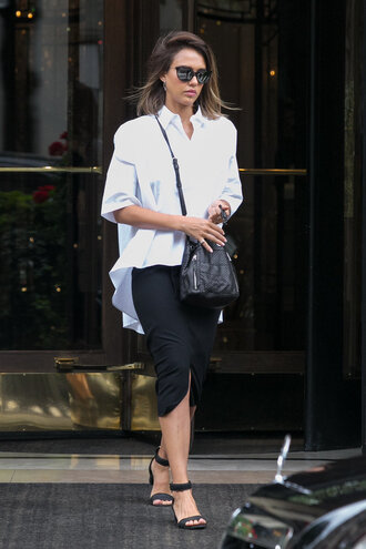 skirt midi skirt jessica alba sandals blouse sunglasses