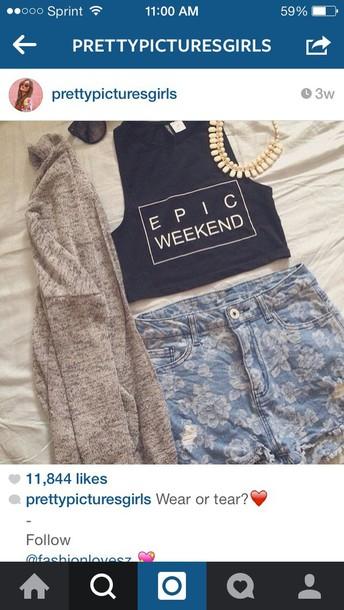 shirt epic weekend shirt shorts jewels cardigan
