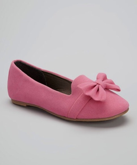 shoes pink flats bow