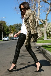 ring my bell,pants,shoes,coat,fur leopard print winter coat,fur coat,faux fur coat,leopard print,t-shirt,white t-shirt,black leather pants,leather pants,sunglasses,pumps,pointed toe pumps,high heel pumps,black heels