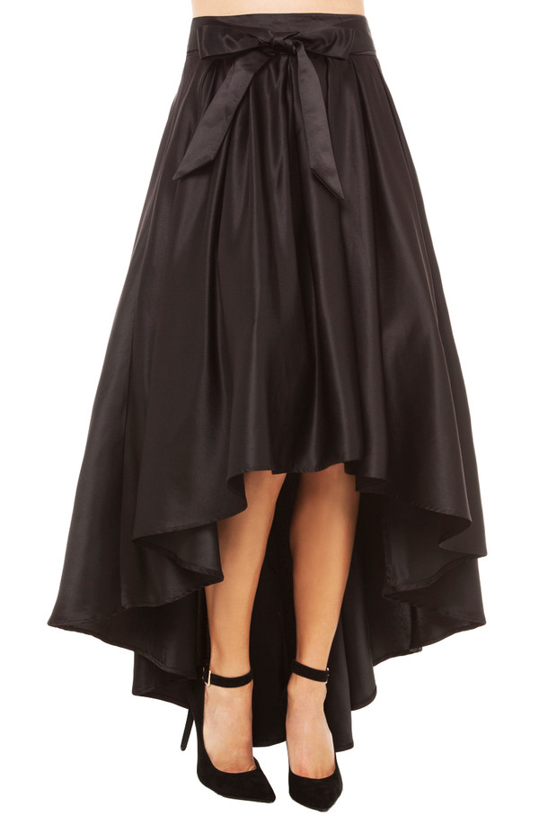 gracia hi low shine skirt in black