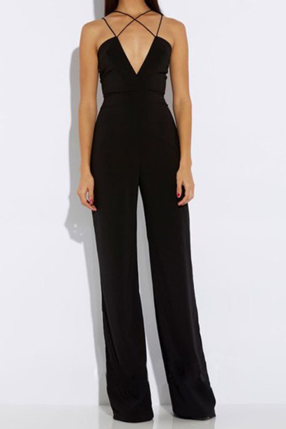 jumpsuit jumper jumper black jumpsuit black jumper classy regal black chic sophisticated style trendy plunge v neck