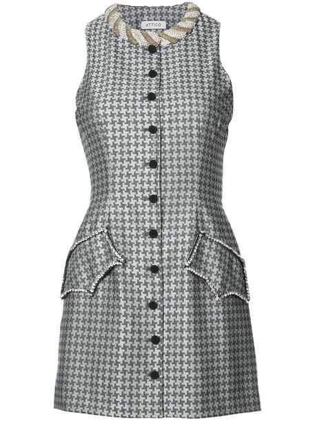 Attico dress mini dress mini women embellished silk wool grey