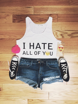 shirt top graphic tee emoji print crop tops tank top