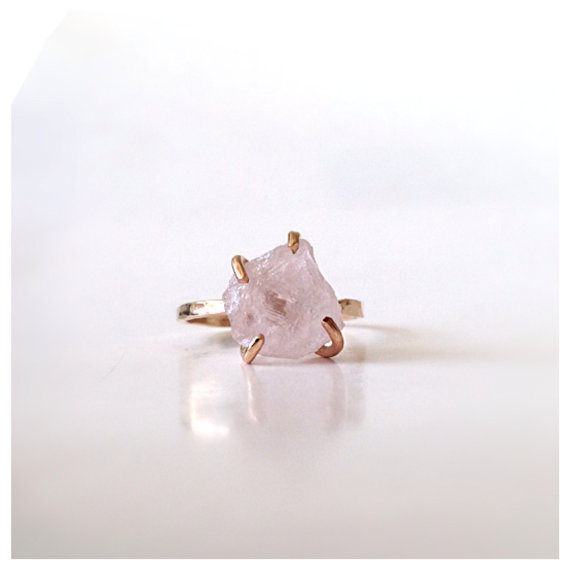Rose Quartz Solitaire Gold Ring  Engagement Ring by camilaestrella