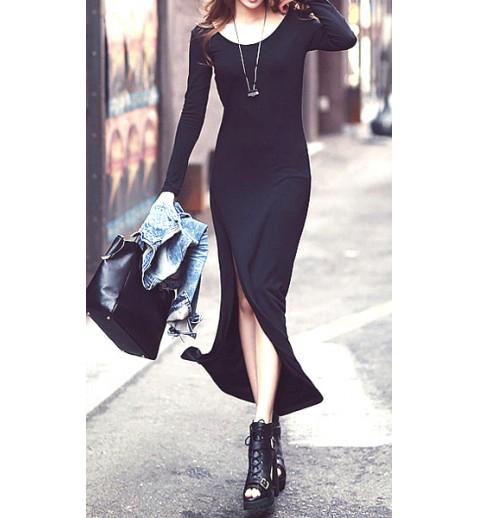 Split fitted maxi dress