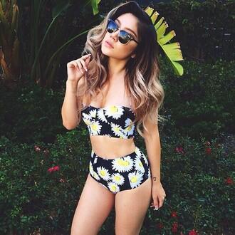 swimwear floral daisies black summer two-piece high waisted bikini strapless
