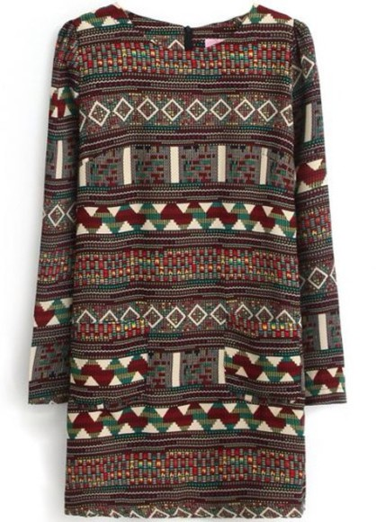 dress aztec tribal print dress tribal pattern shift dress red tribal pretty indie green dress green red dress geometric geometric dress