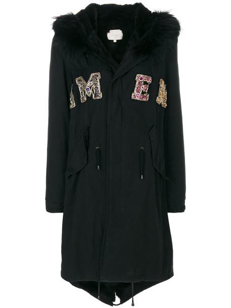 Amen parka fur women embellished cotton black coat