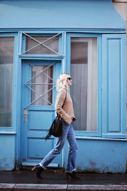 adenorah blogger jeans sweater mom jeans fringed bag