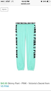 pants,pink vs,victoria's secret,vs,aqua,pink by victorias secret,mint is the color,sweater,blue,neon,black and white,hoodie,top,bodysuit,white bodysuit