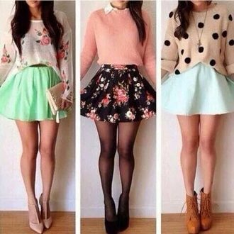 blouse skirt shoes sweater