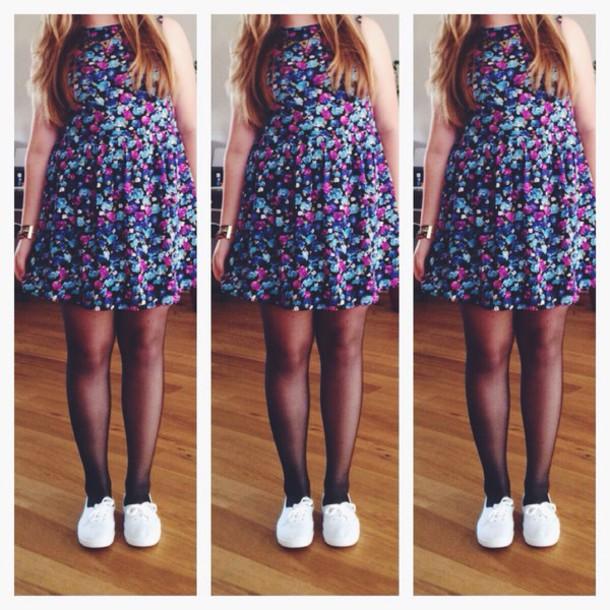 dress dress with flowers floral dress skater dress
