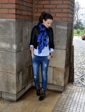 my silk fairytale,jacket,shirt,jeans,shoes,bag,scarf,jewels