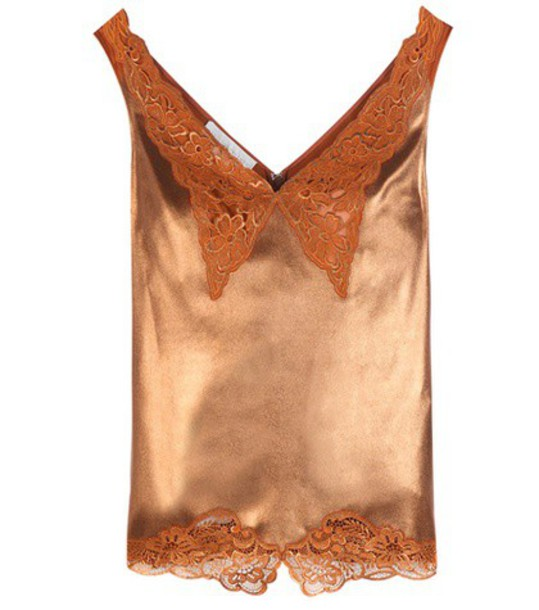 Stella McCartney Lamé And Lace Camisole in brown