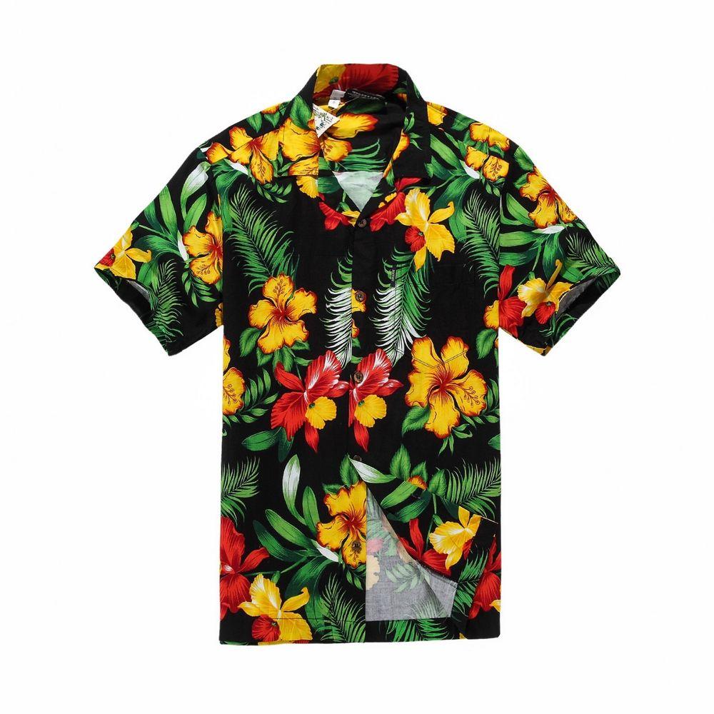 Men tropical hawaiian aloha shirt cruise luau beach party black red yellow flora