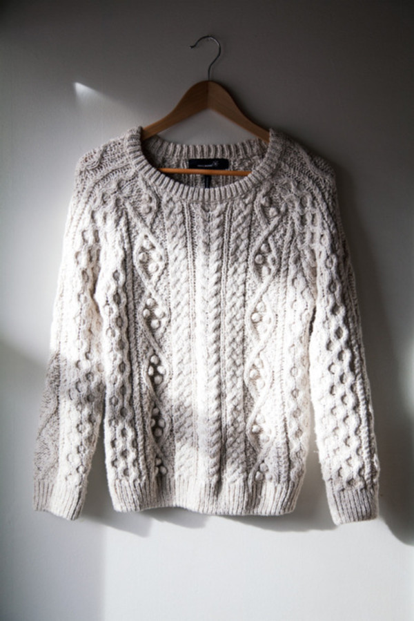 cable knit heavy knit jumper knitted sweater sweater weather winter sweater knitwear off-white