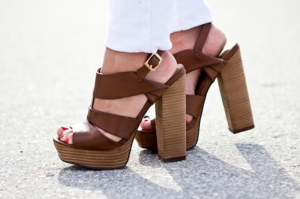shoes heels sandals brown strappy sandals platform shoes