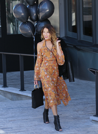 the marcy stop blogger dress jacket bag shoes fall dress midi dress orange dress floral dress handbag ankle boots