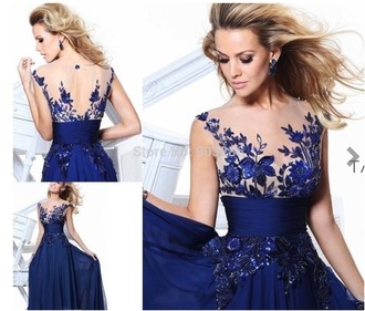 dress royal bule one shoulder with appliques chiffon pleated long/evening/party/homecoming/cocktail /bridesmaid/forma evening party dress royal blue backless see through shoes